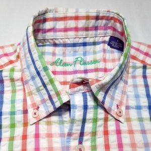 Alan Flusser Ruffle Check Button Down Shirt